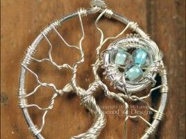 Bird Nest in Tree of Life Pendant Sterling Silver Wire Wrapped, Nest Tree, Mother's Day, Gift for Mom, Family Tree, Momma Bird