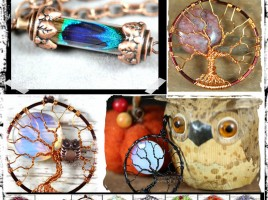Free shipping at PhoenixFire Designs including full moon tree of life pendants, birthstone jewelry, steampunk, bridal, wire wrapped and more!