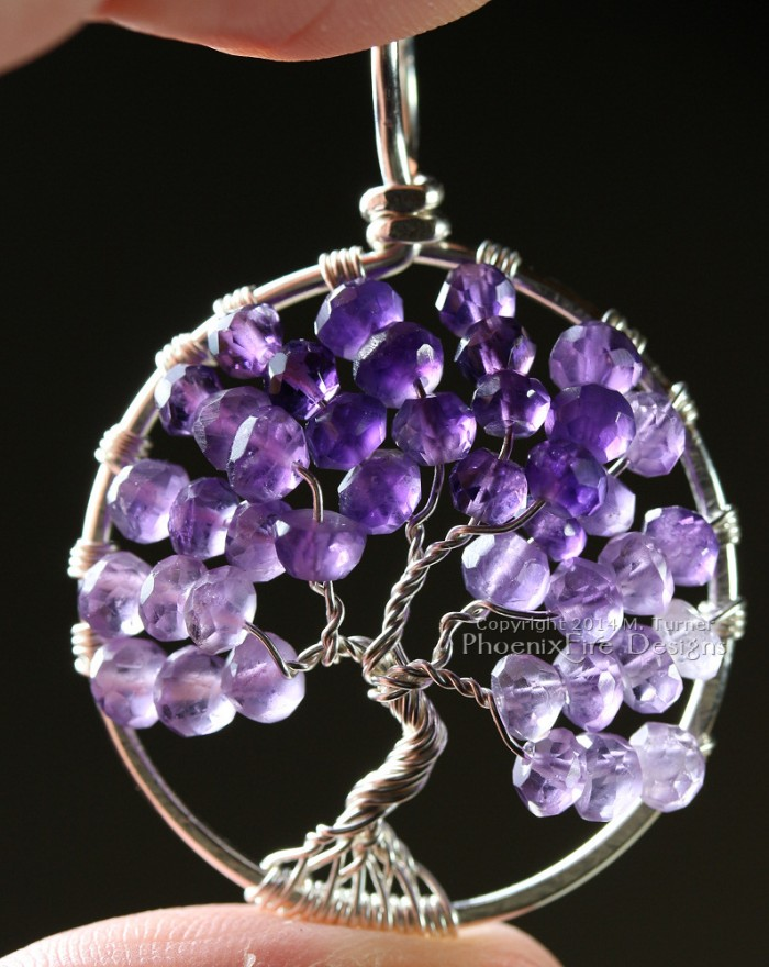 Tree of life pendant featuring shaded, ombre Amethyst micro-faceted rondelles hand wire wrapped in silver wire forming a beautiful artisan Tree of Life pendant. Amethyst is the birthstone of February.