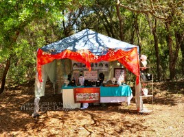 PhoenixFire Designs tent and wares on display as a vendor at the Bay Area Renaissance Festival in Tampa