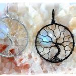 natural rainbow moonstone full moon tree of life pendant