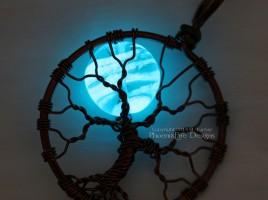 glow in the dark full moon tree of life pendant by PhoenixFire Designs