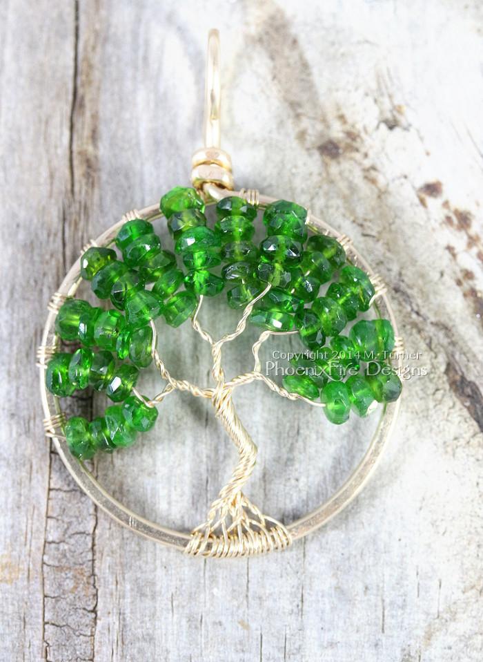 14k gf Chrome Diopside Tree of Life Pendant by PhoenixFire Designs on Etsy