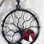 black wire wrap tree with crystal heart