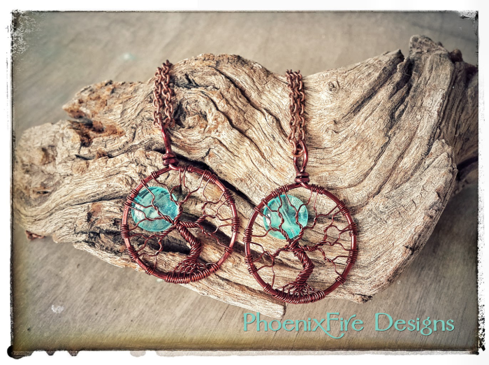 Handmade wire wrapped jewelry glow in the dark full moon tree of life pendant by PhoenixFire Designs on etsy