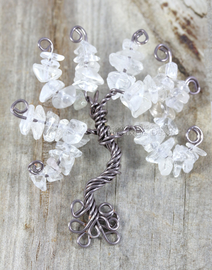 frameless tree of life pendant, 3d tree sculpture necklace, wire wrapped jewelry tree by PhoenixFire Designs on etsy in gunmetal wire and quartz crystal leaves