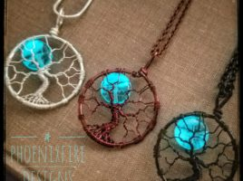 Handmade, wire wrapped tree of life pendants, full moon necklaces, glow in the dark jewelry, wire wrap necklace, celestial jewelry, moon and stars necklace, UV blue glowing necklace by PhoenixFire Designs