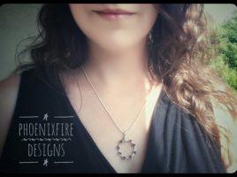 Dainty Circle Necklace Wire Wrap Garnet Pendant, Karma Necklace, Yoga Pendant, Birthstone jewelry gift idea for her, Infinity Necklace, January birthstone by PhoenixFire Designs