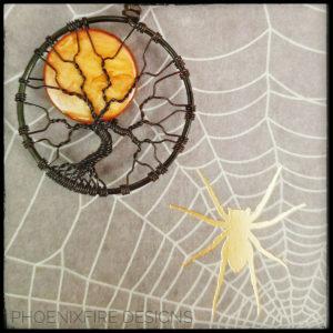 Halloween Harvest Full Moon Black Wire Wrap Orange Black Halloween Tree of Life Pendant Spooky Tree by PhoenxiFire Designs