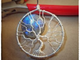 Wire wrapped jewelry, blue flash labradorite full moon, blue moon tree of life necklace, handmade labradorite jewellry for her by PhoenixFire Designs on etsy