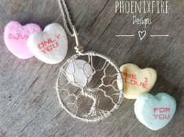 Rainbow Moonstone Full Moon Tree of Life Pendant, Handcrafted artisan fine jewelry by PhoenixFire Designs